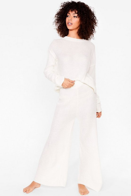 Love You Culotte Knit Jumper and Trousers Lounge Set