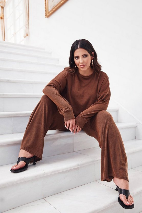 You and I Plus Ribbed Top and Trousers Set