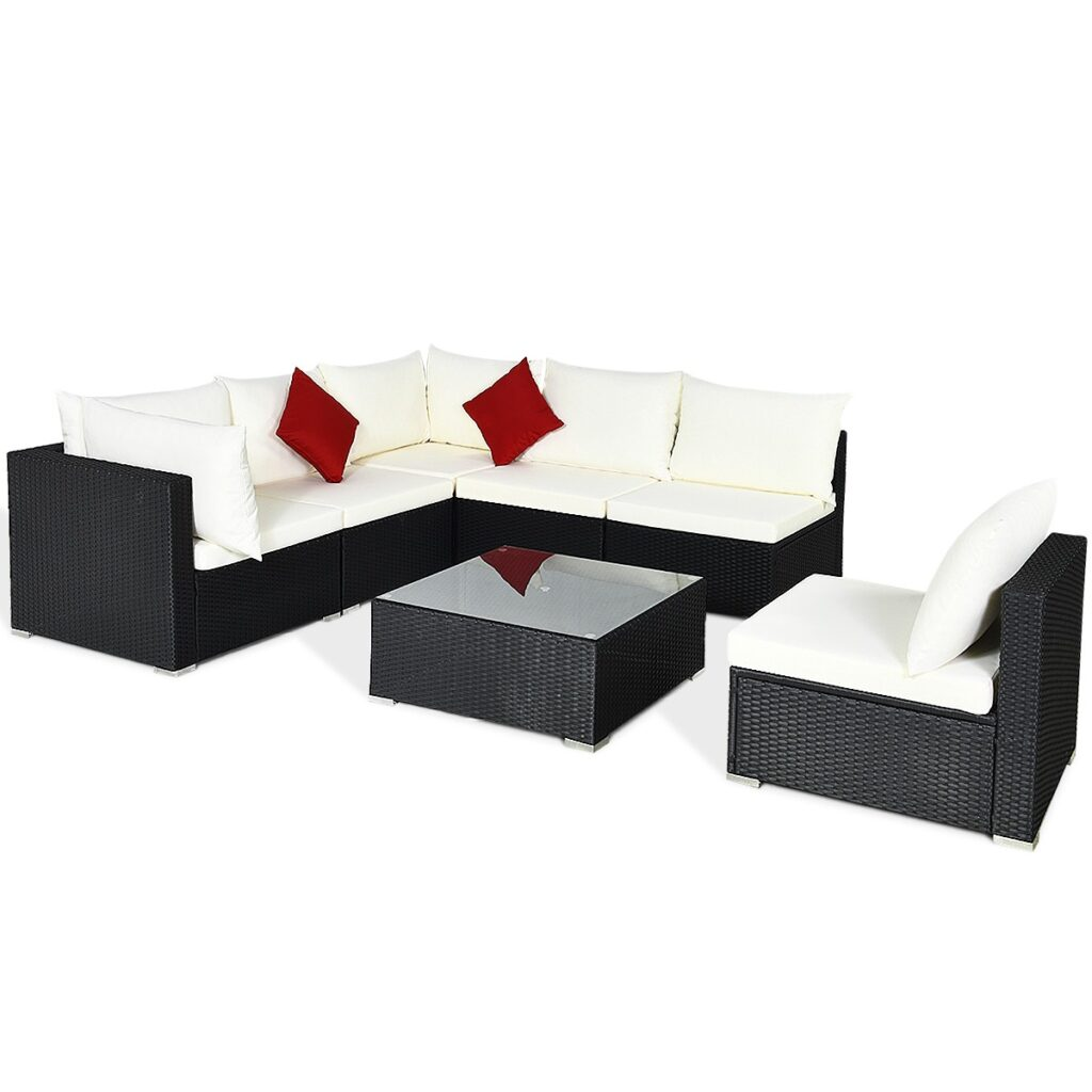 7 Piece Outdoor Wicker Patio Sofa Set with 2 Pillows and Cushions