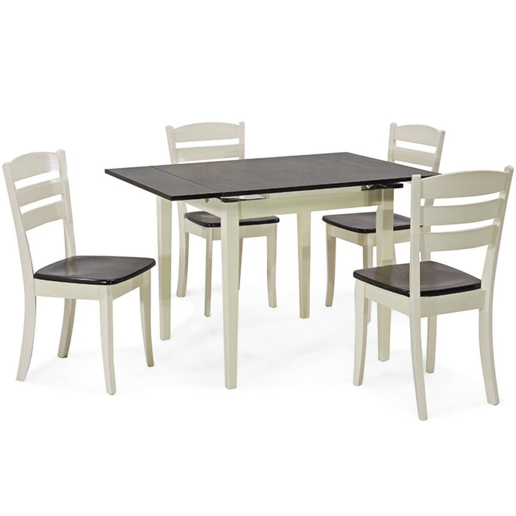 Extending 5 Piece Wood Dining Table Set