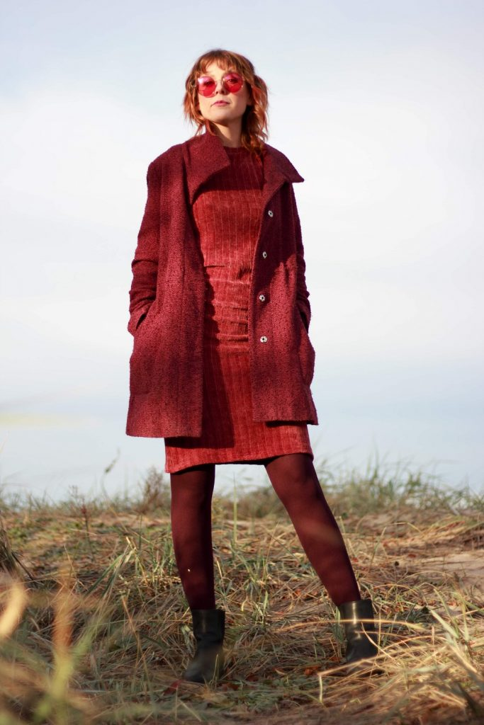 Sweater Dress with a coat